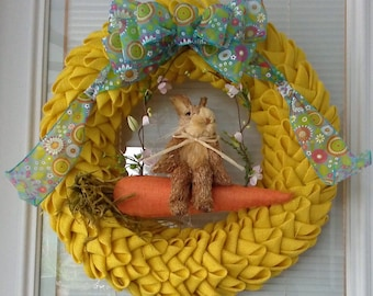 Yellow Burlap Petal Wreath With An Easter Bunny On A Swing / One Of A Kind