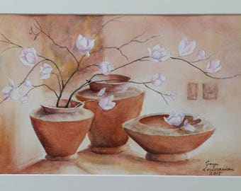 Flower vases - 14 x 11 matted - Original watercolor painting
