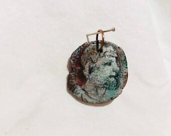 Handmade Painted cameo pendant Catholic Saint on bronze roman coin of Saint Hubertus Patron of Maths