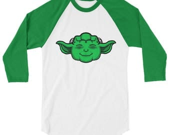 Happy Yoda 3/4 sleeve raglan shirt