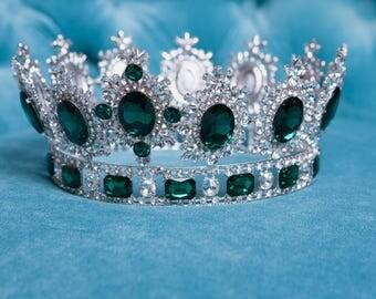 Green Silver Crystar Tiara Crown for wedding dress, diademe for evening dress, princess tiara wedding tiaras
