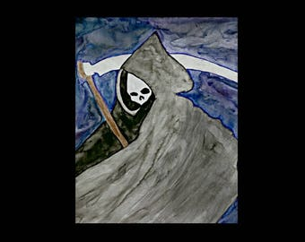 ACEO Grim Reaper Print, ACEO, ACEO Print, Aceo Art Cards, Aceo Painting, Aceo Grim Reaper, Atc Cards, Artist Trading Cards, Atc, Art Cards