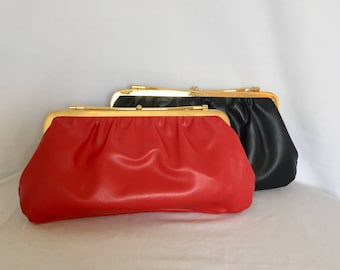 Set of two Vintage Reversible Evening Bags with gold tone hardware