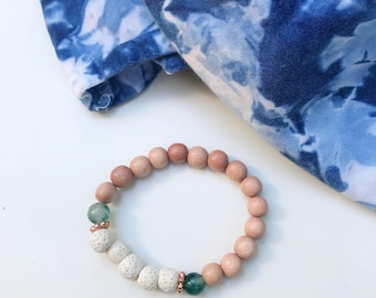 Rosewood + green marble jade + white lava diffuser bracelet