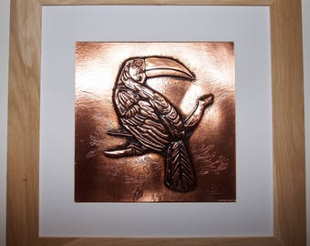 embossed copper picture toucan