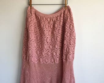 Vintage Pink Plus Size Crocheted Skirt, Size 2X