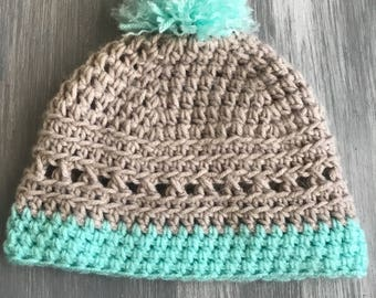 Gray and turquoise pompom beanie