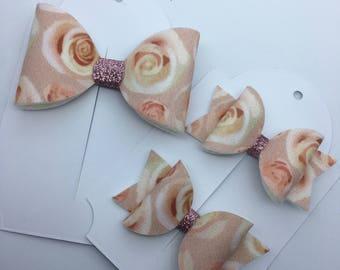 Pink rose hair bow