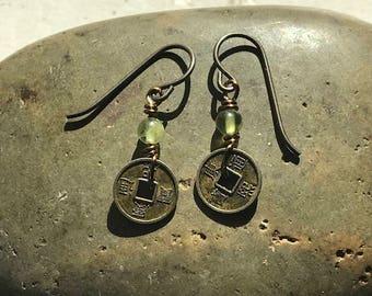 Luck & Prosperity Peridot Chinese Coin earrings