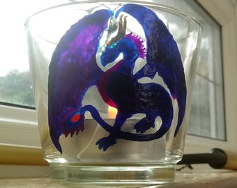 Hand painted dragon candle holder