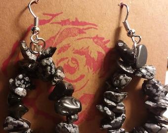 Snowflake obsidian earrings.