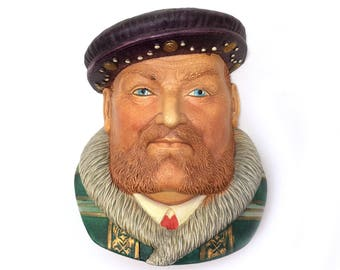 King Henry VIII Chalkware Head Wall Decor, Legend Products Vintage Wall Art, Office Cubicle Decor