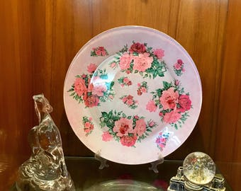 Hand decorated, Glass plate