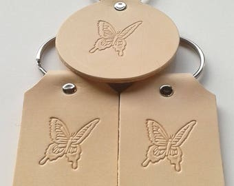 Leather key fob Butterfly