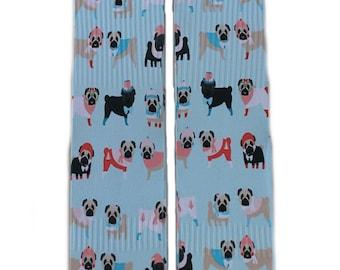 Blue Pug Socks
