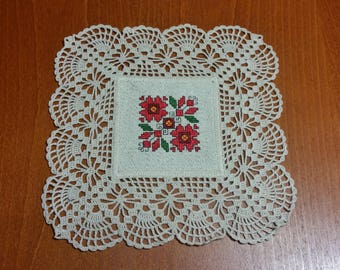 Vintage Hand Embroidered And  Hand Made Crotchet Lace