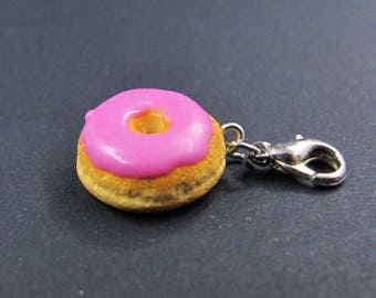 Donut with pink icing/charm/pendant/miniature food