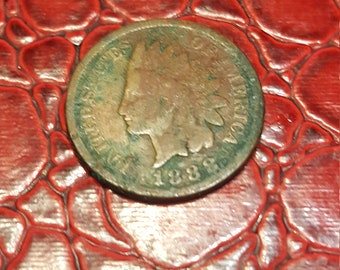 1 One Cent Penny Copper Coin USA Indian Head 1888.combined shipping