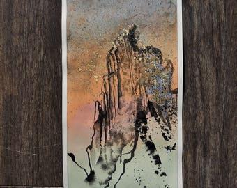 "Small Original Mixed Media Artwork On Paper - American Southwest Desert Landscape - ""Tucson, Arizona: Pusch Ridge Skyline"""