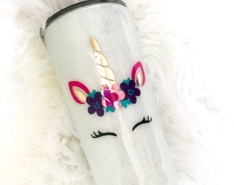 Unicorn Glitter Cup / Unicorn Mug / White Unicorn Tumbler / Stainless Steel Tumbler / Custom Glitter Tumbler / Glitter Cups / Glitter Mug /