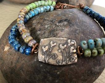 Leather Wrap Bracelet/Artisan Link Bracelet/Wrap Bracelet