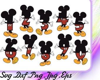 Mickey Mouse Numbers SVG, Disney, Digital file, Digital print