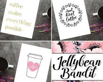 Set of 3 Coffee Lovers A4 art print
