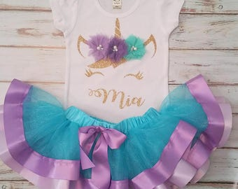 Mystical Unicorn Aqua Lavender Purple and Gold Personalized Birthday 3d Shirt and Ribbon Tutu Birthday Outfit