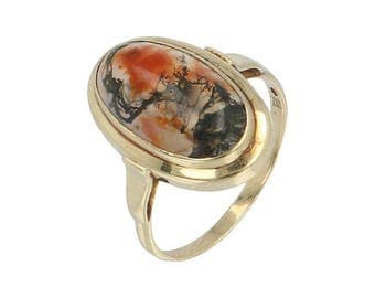 Art Deco ring in 14K gold with Moss agate cabochon