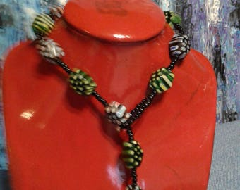 Black mineral bead with murano glass bead