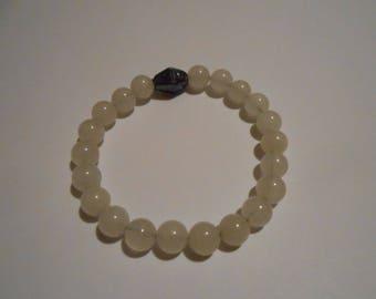 Pink quartz bracelet, elastic
