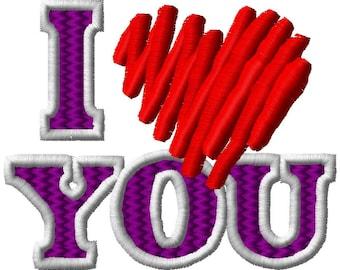 I Love You Heart - Machine Embroidery Design