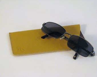 Mustard yellow leather glasses case