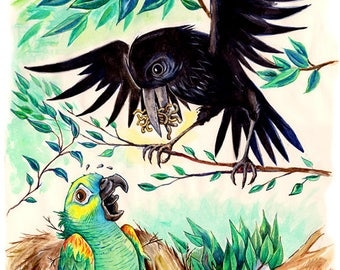 Jake the Parrot has Breakfast with Eric the Crow A3 print 600 pixels per inch resolution. Signed by artist.