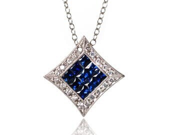 diamond & blue sapphire art deco antique style pendant, 14k white gold total gem weight 2.35 CTW, matching earrings available