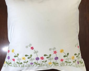 Embroidered cotton pillow cover White cushion pillowcase with purple pink yellow flower; Wedding, birthday, easter, housewarming gift