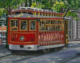 Red Trolley Fine Art Print