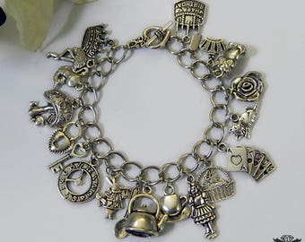 Alice in Wonderland Inspired Silver Plated Charm Bracelet