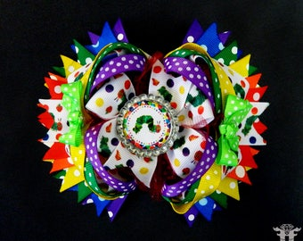The Very Hungry Caterpillar Inspired Over the Top Stacked Rainbow Dots Boutique Hair Bow XL 5.5 inches