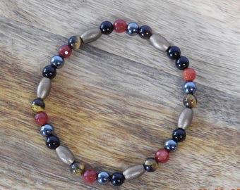 Natural Golden Tiger's Eye, Hematite, Black Agate & Red Malaysian Jade healing gemstone stretch bracelet
