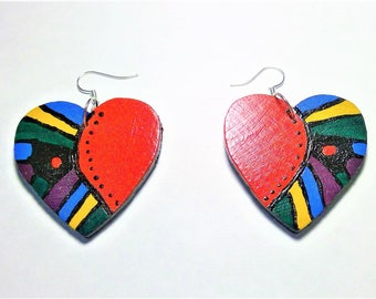 Wood Hand Painted Red Stained Window Heart Earrings