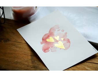 Pink and gold heart postcard