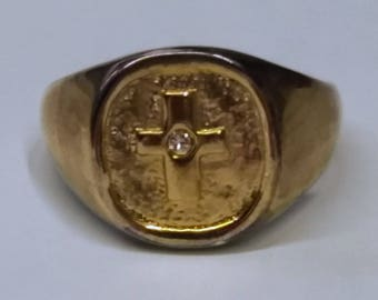 Mens 10kt Vintage Gold Cross and Diamond Ring