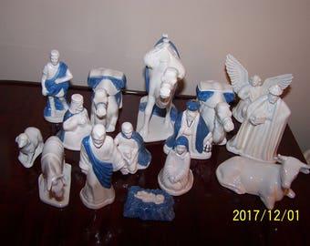 ceramic Nativity 15 piece