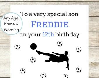 Handmade Personalised Birthday Card, Male Birthday Card, Son, Brother, Nephew, Daddy, Teen Boy 10th, 13th, 14th 15th 16th Soccer Football