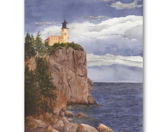 Split Rock Storm, Giclee Watercolor Print of Lighthouse Nautical Seascape