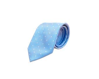 Mens Tie - Baby Blue Spotted Silk Tie by DEBONAIR