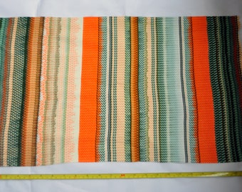 "Remnant/scrap of very stretchy abstract retro pattern fabric in orange/green/yellow 14"" x 14"""
