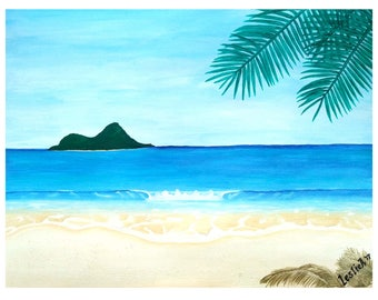PEACEFUL BEACH - Watercolor and Acrylic on Paper - 9in x 12in (22.86cm x 30.48cm) - Nature Art Original Painting by LeslieA.