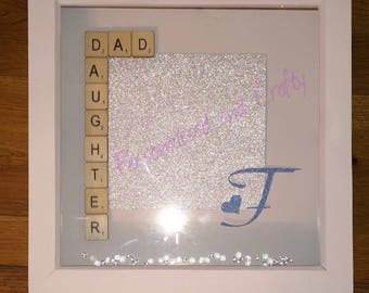 Dad and daughter frame/handmade Dad frame/perfect Dad and Daughter gift/scrabble frame gift/Christmas Gift